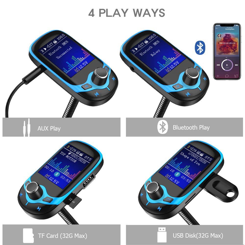TF Card Nulaxy Bluetooth FM Transmitter 1.8 Color Screen Wireless Receiver Car Kit W QC3.0 Quick Charge AUX EQ Mode Handsfree Calling Car Battery Voltage Reading Support USB Drive KM28 Black