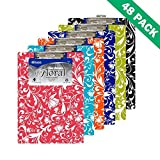 Clipboard Pack, Floral Standard Low Profile Memo Clipboards Clips - Case Of 48