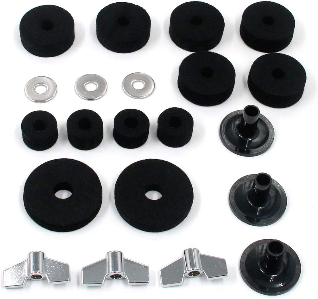 Cymbal Sleeves FarBoat 21Pcs Drums Cymbal Accessories Kits Replacement Parts for Jazz Drums Base Wing Nuts Cymbal Washer Hi Hat Cluth Felts