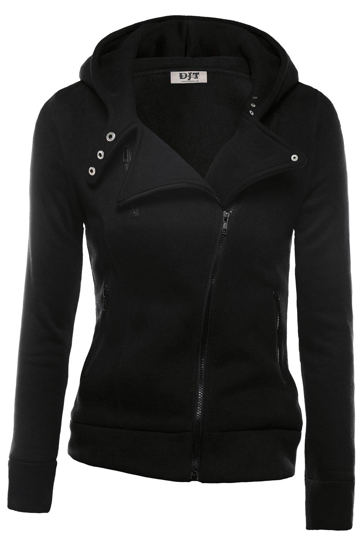 DJT Womens Casual Oblique Zipper Hoodie Jacket Coat Small Black