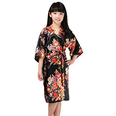 Amazon.com: ECHERY Girl\'s Satin Silk Kimono Robe Short Sleeve ...