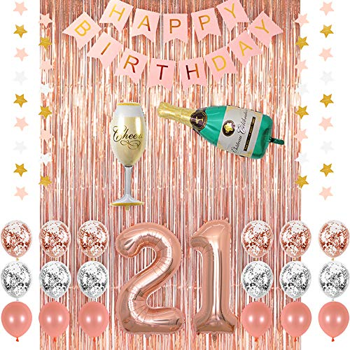 Rose Gold 21 Birthday Party Decorations Supplies, Champagne Balloon, Pink Happy Birthday Banner, 21 Balloons,Rose Gold Foil Fringe Curtains,Confetti Balloons for Finally Legal 21 Birthday]()