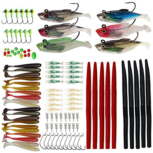 Fishing Lures Bait Kit Spinners Swimbait Crankbaits Minnow Variety Kit Rubber Worms Shrimp Jig Heads Hooks Fishing Baits Rooster Tail Trout Spinner Salmon Spoons Walleye Colorful Sharp Treble Hooks ()