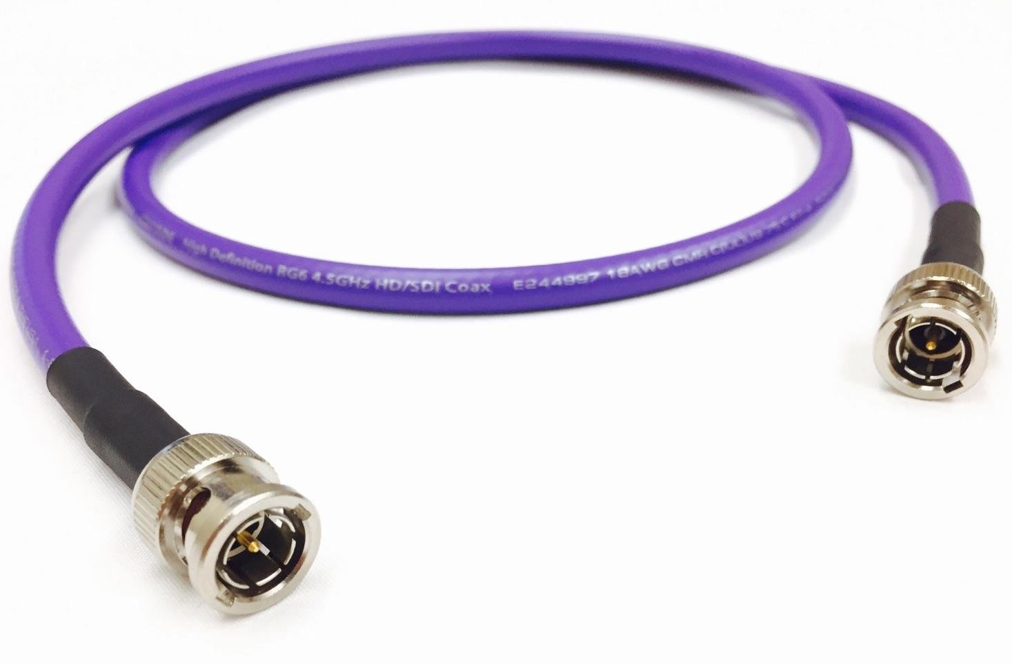 Amazon.com: Custom Cable Connection 25 Foot HD-SDI 3G RG6 BNC to BNC Video Coaxial Cable (75 Ohm) Purple 4.5Ghz - Made in The USA - (108301-25PUR): Home ...