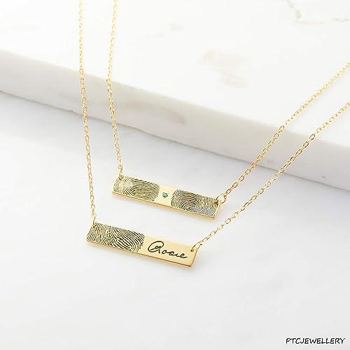Anniversary Gift Actual Fingerprint Bar Necklace Gold Plated Fingerprint Necklace Set Personalized Fingerprint Couple Bar Necklaces