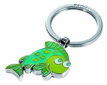 Llavero pez, metal fundido/esmalte, cromado brillante, verde ...