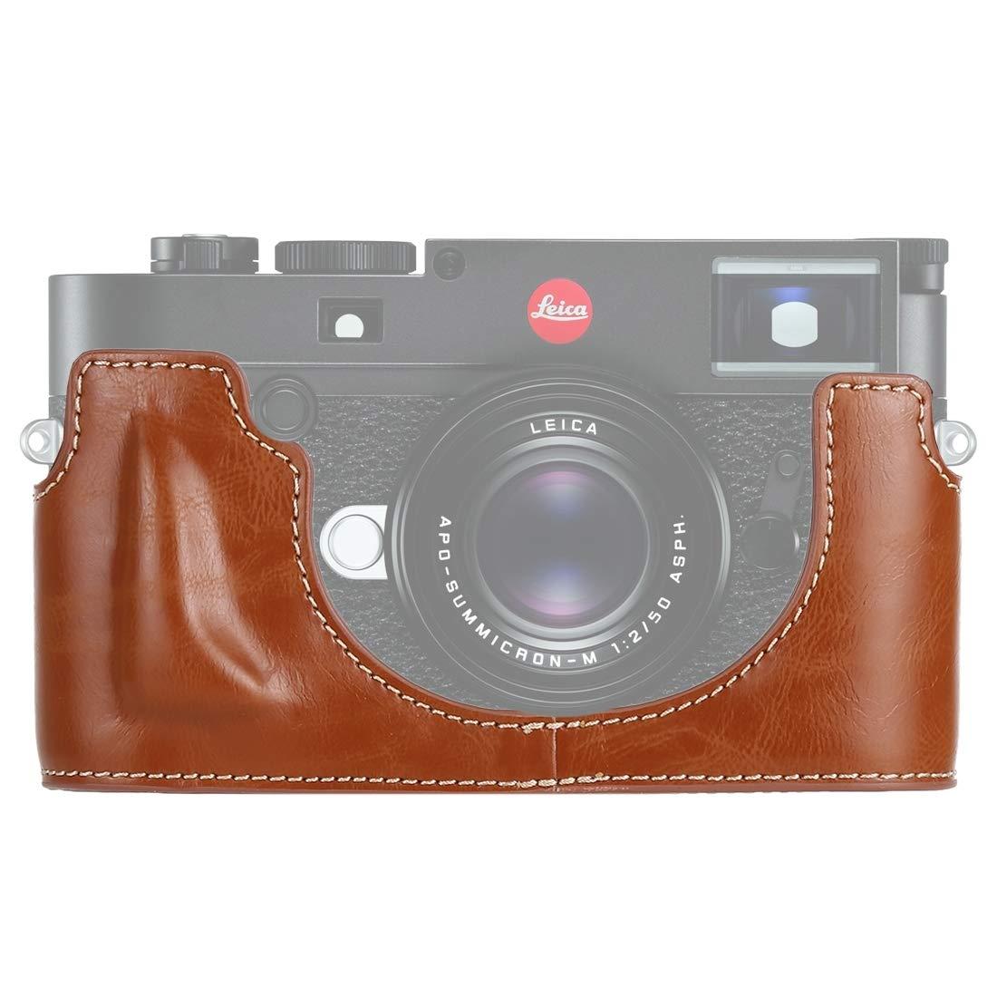 Dig 犬用骨 1/4インチねじ PUレザー カメラ ハーフケース ベース 互換性 ライカ M10, ブラウン, DCA5423Z B07L96GB87 ブラウン