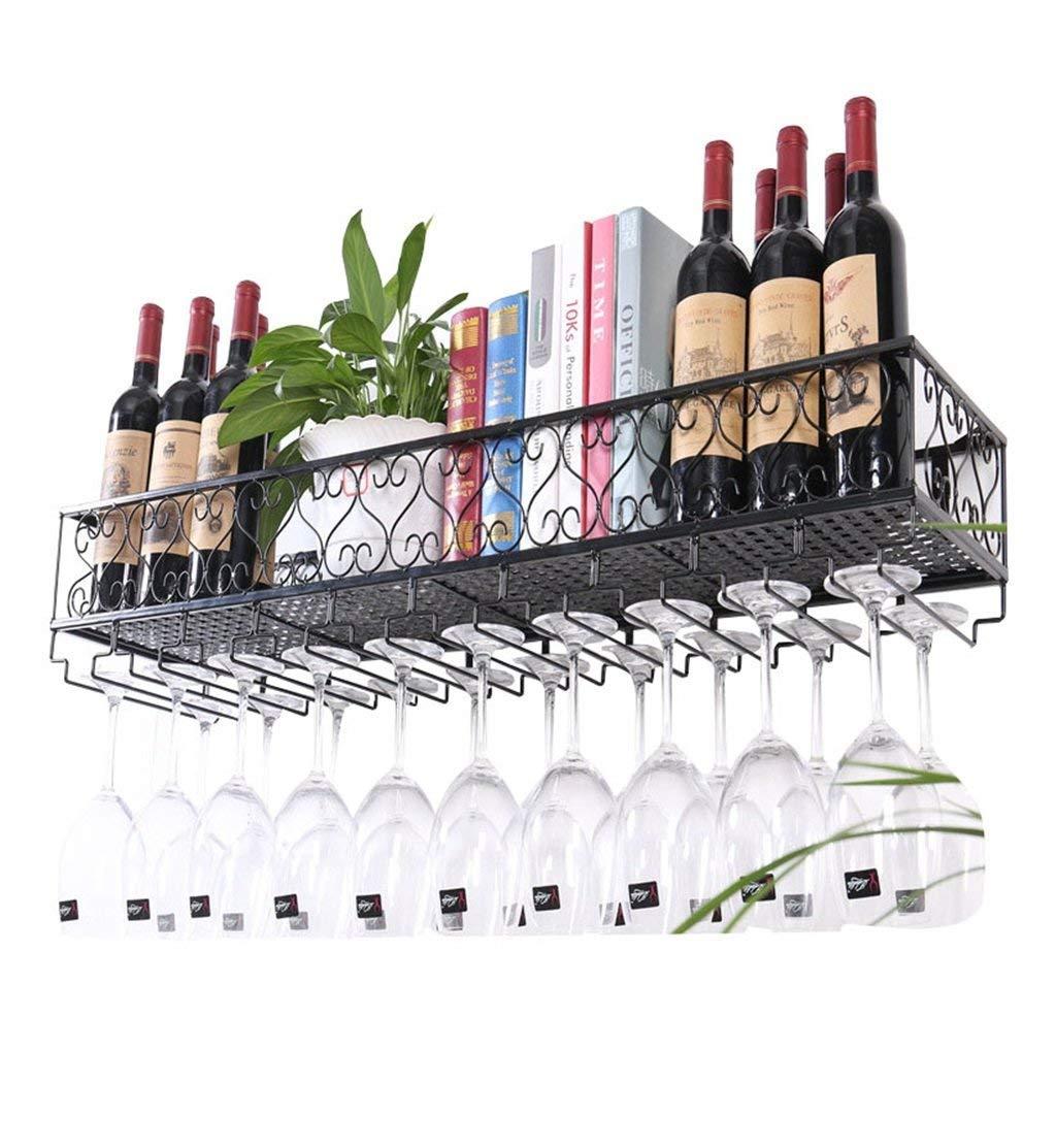 An der Wand befestigtes Metallwein-Gestell, europäisches Eisen-Weinglas-hängendes Regal u. Halter-Regal für Küche Bar Restaurant (Farbe   Schwarz, größe   6025cm)