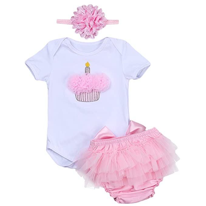 b13e473cfb50 Amazon.com  IWEMEK 3PCs Newborn Baby Girls  1st Birthday Cake Smash Romper  Jumpsuit Bodysuit Tutu Skirt Dress Party Headband Outfits  Clothing