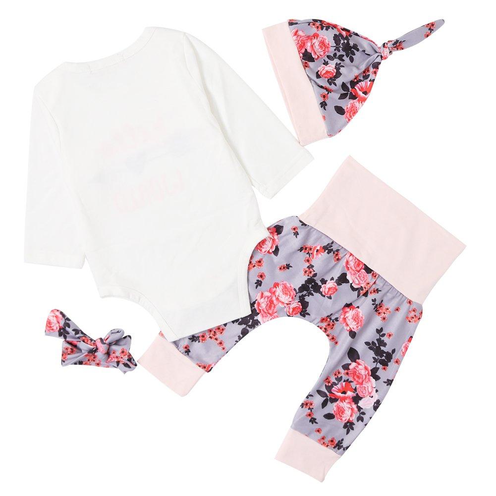 Chicolife Baby Mädchen Blumen Outfit Set Buchstaben Gedruckt Hello World Langarm Pfeil Strampler mit Blume Stirnband Hut 4Pcs