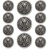 "MetalBlazerButtons.com Brand - ANTIQUE SILVER - CROWNED EAGLE & ANCHOR CREST - (11-Button, Single Breasted) METAL BLAZER BUTTON SET - 7/8"" & 5/8"" BUTTONS (11-Button Set)"