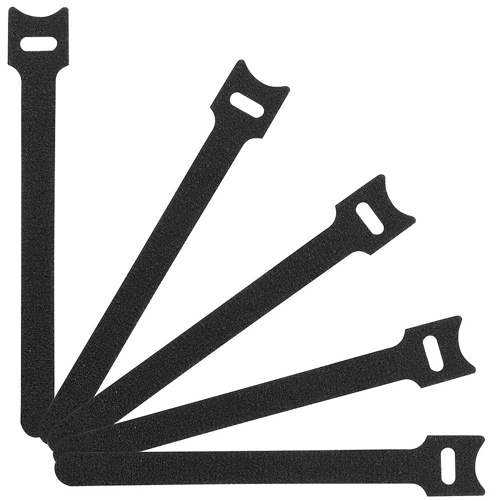 Heze 100 pcs Reusable Fastening Cable Ties Nylon Cloth Hook and Loop Cord Ties 6'' x 1/2'' (Black)