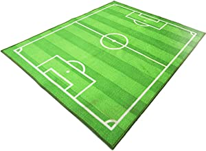 FUNS Soccer Field Kids Play Area Rug, Football Field Carpet, Play Mat for Boys Girls, Home Decor, Sports Theme Room