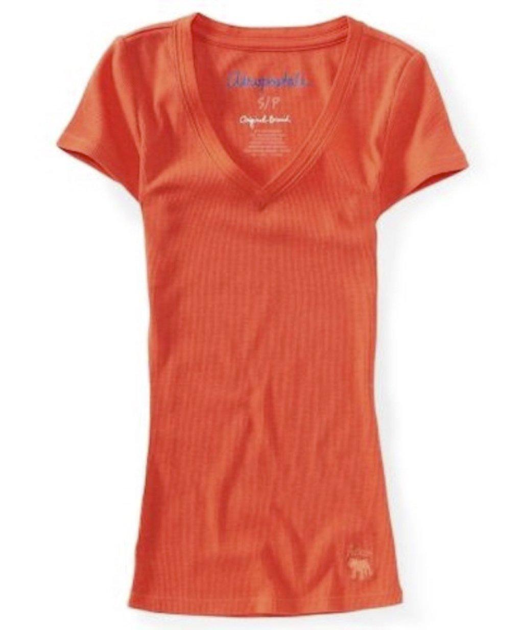 Aeropostale Womens V-Neck Stretch Ribbed Solid T-Shirt Orange Large