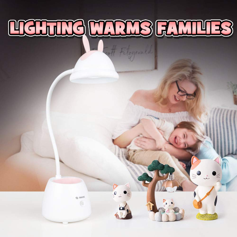 Neporal Led-Desk-Lamp-for-Kids-with-USB-Charging-Port 3 Brightness Adjustable Eye Caring Table Lamps Touch Control with Adjustable Gooseneck Wireless Study Lamp with Pen Holder for Kids Bedroom