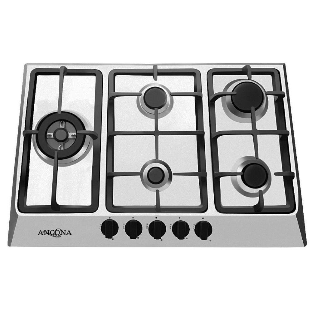 Ancona AN-21429 30' Gas Cooktop, Stainless Steel AMS Inc