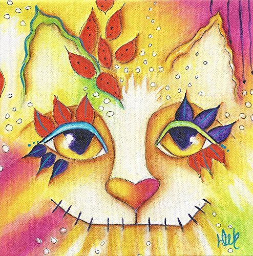 Cat, Marigold, Day Of The Dead, Original Acrylic Painting, 8