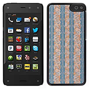 MOBMART Carcasa Funda Case Cover Armor Shell PARA Amazon Fire Phone - Half Patterned Blue Floral Piece