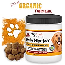 iDash Pets Glucosamine for Dogs, Daily Hip-Jo's, Dog Arthritis Pain Relief, Hip Dysplasia, Advanced Hip and Joint Supplement for Dogs, Chondroitin, Turmeric, MSM for Dogs, Made in USA, 130 Soft Chews