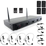 Pyle 4 Channel UHF Wireless Microphone System & Rack Mountable Base 4 Headsets, 4 Belt Packs, 4 Lavelier/Lapel MIC With Independent Volume Controls AF & RF Signal Indicators (PDWM4560)
