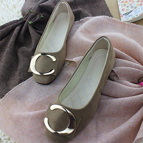 LEIT Mujer Zapatos Casual Hebilla Metálica Delgada Superficial Plana Boca Abajo Khaki