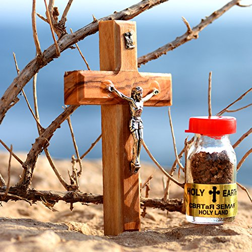 Little Piece from The Holy Land - 5-Piece Gift Set of Wooden Crucifix Jesus Cross, Blessed Olive Oil, Holy Insence, Holy Earth from Jerusalem & Holy Water from The Jordan River - Made in Jerusalem