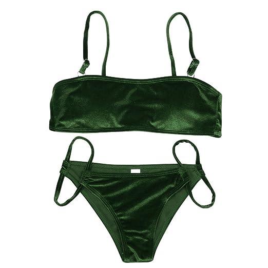 0b7692341a9894 Amazon.com  Golden Velvet Sandy Tankini Push-Up Sexy Casual Newly ...