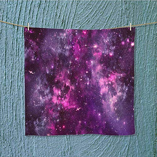 SeptSonne shower towel Nebula Gas Cloud Deep Dark in with Star Clusters Infinity Solar Sky Print Easy care machine wash W13.8 x W13.8 INCH by SeptSonne