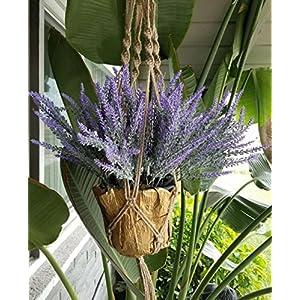 P-flowe Plastic Flower, Artificial Flowers Flocked Lavender Bouquet Romantic Fake Lavender Bunch Simulation Plant Flower in Purple Artificial Plant Home Wedding Garden Decor (4 Pcs Purple 4