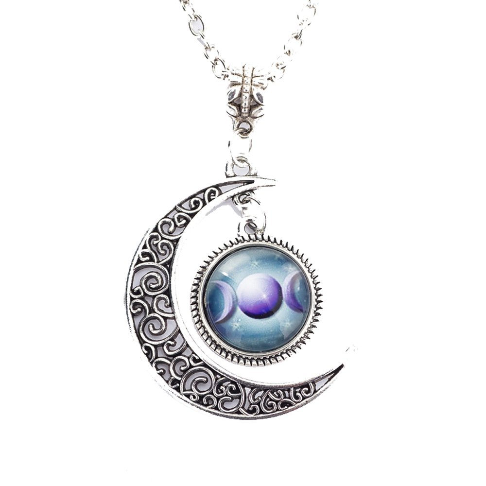 Grenf Fashion Full Moon Necklace Glass Art Picture Triple Goddess Pendant, Wiccan Jewelry, Moon Goddess Jewelry, Wiccan Charm Necklace Hollow Moon Time Gems Shape Pendant (Sky Moon Gemstone - 6)