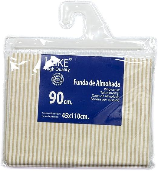 I LIKE® Funda DE Almohada Rayas Beige 100% ALGODÓN Cama 90 (45 X ...