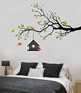 ZigRocket Heart-in Flower Tree with Bird Cage DIY Wall Sticker Removal Vinyl Home Decor Wall Decor Decal Wall Murals 85 x 125 cm