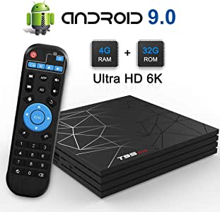 TUREWELL T95 Max Android TV Box, Android 9.0 tv Box chip H6 Quad-core cortex-A53 4GB RAM 32GB ROM Smart tv Box Support 3D 6K Ultra HD H.265 2.4GHz WiFi Ethernet HDMI [2019 Newest]