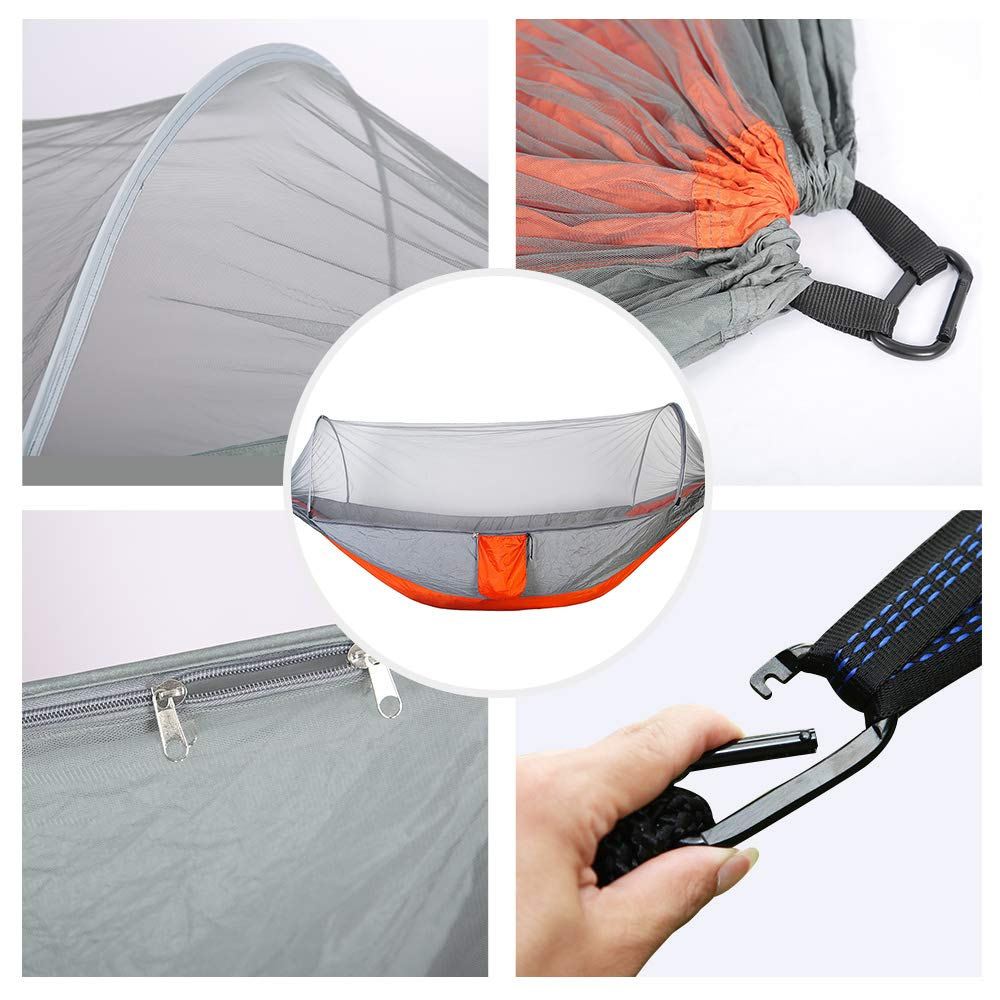 YOOMO Camping Hammock with Mosquito Net Tree Straps Lightweight Parachute Fabric Travel Bed for Hiking, Backpacking, Backyard