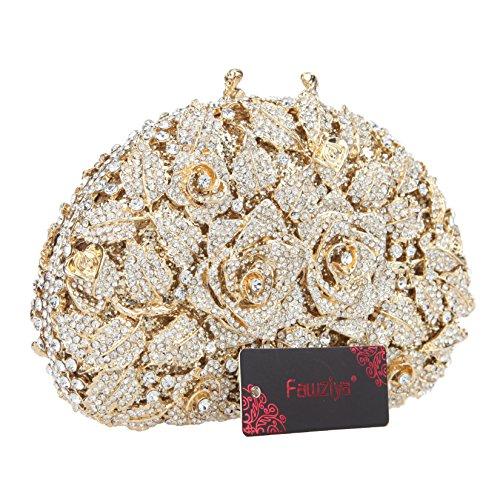 Clutch Rose Handbags Rhinestone For Gold For Fawziya Women Party Purse 4qEnxdY5