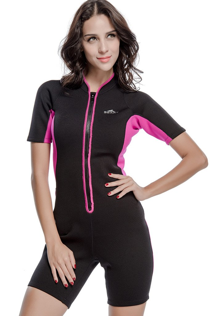 Micosuza Womens Shorty Wetsuit Long Sleeve 1.5MM Neoprene Back Zip Winter  Swimwear Long Sleeve Diving ... 30694689c