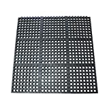 Rubber-Cal 03-122-INT-BK''Dura-Chef Commercial Interlock'' Anti-Fatigue Rubber Matting, 36'' x 36'' x 1/2'', Black