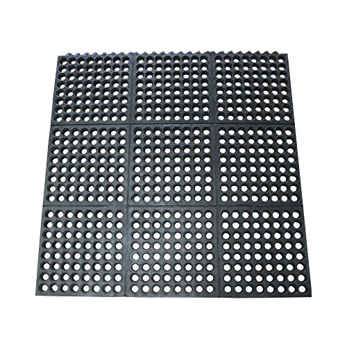 "Rubber-Cal 03-122-INT-BK""Dura-Chef Commercial Interlock"" Anti-Fatigue Rubber Matting, 36"" x 36"" x 1/2"", Black"