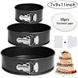 "Springform Pan Set,3 Piece 7"" 9"" 11"" Leakproof Round Cake Pan Set,Wedding Cake Pan Set,Spring Form Baking Pan,Cheesecake Pan with Removable Bottom & Quick-Release Latch and 50 Pcs Parchment Paper"