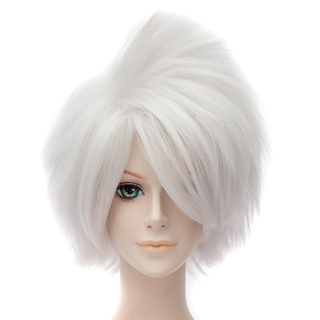 Z Naruto Hatake Kakashi Animado Blancas Pelucas De Pelo Corto Cosplay Peluca Recta Completa: Amazon.es: Belleza