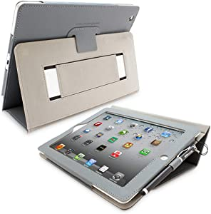 Snugg iPad 2 Case - Smart Cover with Kick Stand & (Gray Leather) for Apple iPad 2