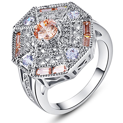 Narica Womens Fancy 1.5mmx3mm Asscher Shaped Morganite Topaz Cubic Zirconia Engagement - Asscher Garnet Ring