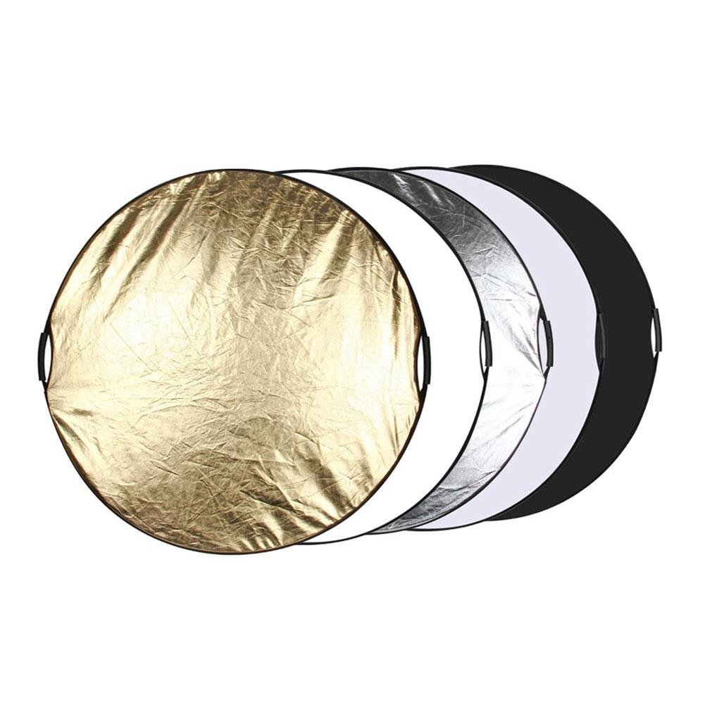 Seatechlogy Light reflector Photography folding hand-held reflector Light Round folding 5 in 1 for Photography Studio Color Black, White, Gold, Silver, Translucent 60cm diameter