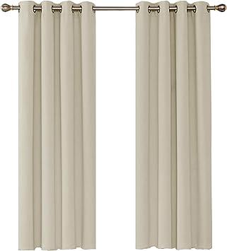 Umi. by Amazon - 2 Stück Verdunkelungsgardinen mit Ösen Vorhang Blickdicht  260x140 cm Beige