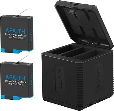AFAITH Cargador de batería para Gopro, Base de Carga Triple con 2 baterías de reemplazo, Caja de Carga múltiple Tipo-C Organizador de Almacenamiento de batería para GoPro Hero 8/7/6/5 Black,Hero 2018: Amazon.es: