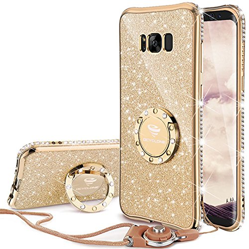 Price comparison product image Galaxy S8 Plus Case, Glitter Cute Phone Case Girls with Kickstand, Bling Diamond Rhinestone Bumper Ring Stand Sparkly Luxury Thin Soft Protective Samsung Galaxy S8 / S8 Plus Case for Girl Women - Gold