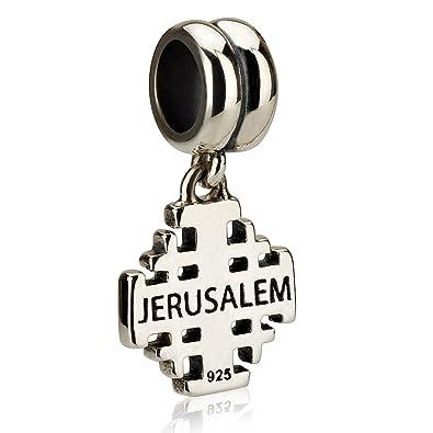 1e43ccde2a6e58 Genuine 925 Sterling Silver Dangle Pendant Charm for 3mm Necklace or Snake  Chain Bracelet, Jerusalem