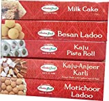 HIMALYA FRESH Authentic Indian Food Value Pack of 5 (1 Box Kesar peda, 12 oz - 1 Box Milk Cake, 14 oz - 1 Box Kaju Anjeer Katli, 12 oz - 1 Box Besan Ladoo, 12 oz - 1 Box Motichoor Ladoo, 12 oz)