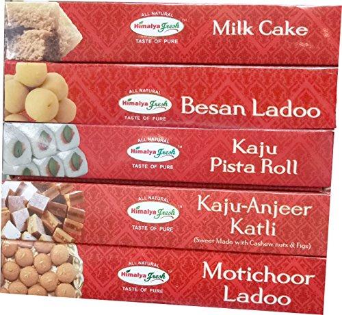 HIMALYA FRESH Authentic Indian Food Value Pack of 5 (1 Box Kaju Pista Roll, 12 oz - 1 Box Milk Cake, 14 oz - 1 Box Kaju Anjeer Katli, 12 oz - 1 Box Besan Ladoo, 12 oz - 1 Box Motichoor Ladoo, 12 oz) (Roll Pista)