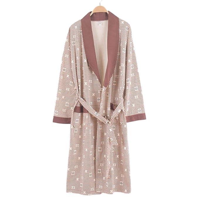 LIULIFE Bata De Algodón De Punto para Hombres Ropa De Dormir Primavera Otoño Kimono Juvenil Albornoz Homewear: Amazon.es: Ropa y accesorios